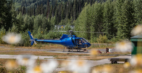 helicopter parked at bell 2 lodge over the summer. Photo - Steve Rosset
