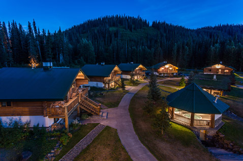 bell 2 lodge, dimmed lighting at night. Photo - Steve Rosset