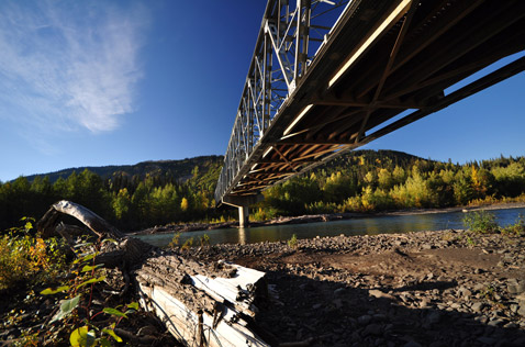 bell 2 bridge, by the bell river, northern bc canada. Photo - Steve Rosset