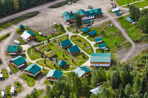 bell 2 lodge, stewart cassiar highway, aerial view. Photo - Steve Rosset