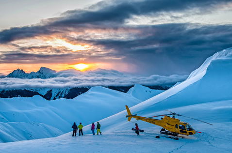 Alpine sunset at Last Frontier Heliskiing. Photo - Dave Silver