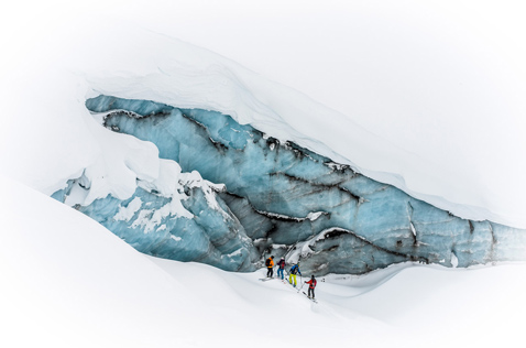 gallery heliskiing glacier ice. Photo - Dave Silver
