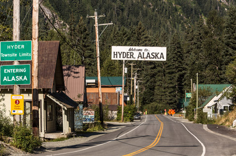 Hyder, at the border of AK and Stewart, BC. Photo - Steve Rosset